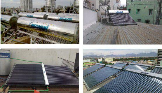 Giàn máy nước nóng năng lượng mặt trời công nghiệp lắp đặt tại các công trình.