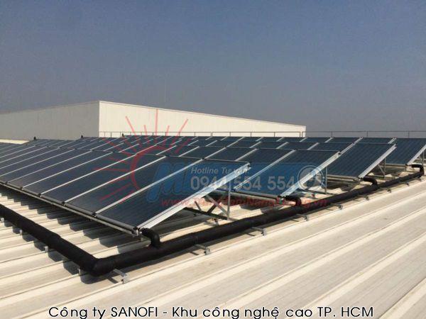 hình ảnh tiêu biểu về Công trình máy nước nóng năng lượng mặt trời mà Megasun lắp đặt tạiCông ty SANOFI - Khu công nghệ cao TP. HCM