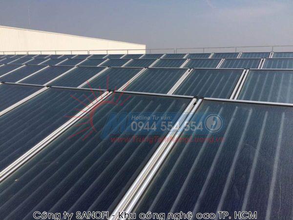 hình ảnh tiêu biểu về Công trình máy nước nóng năng lượng mặt trời mà Megasun lắp đặt tạiCông ty SANOFI – Khu công nghệ cao TP. HCM