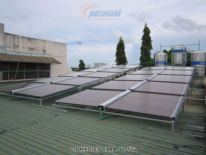 Hệ thống máy nước nóng năng lượng mặt trời tập trung MEGASUN tại Công ty HIKOSEN CARA - Vũng Tàu