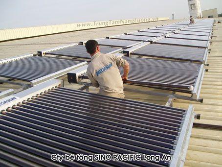 Công ty Bê tông SINO PACIFIC Long An sử dụng hệ thống nước nóng năng lượng mặt trời MEGASUN công suất 12,000 lít.