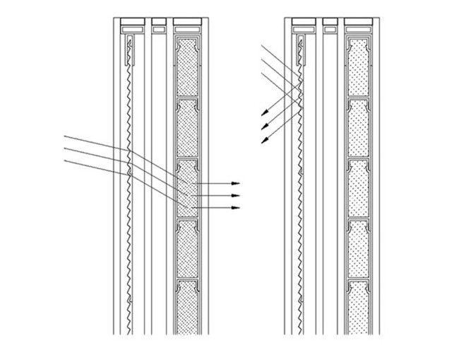 Công trình nhà ở tương tự ở Thụy Sĩ dùng lăng kính để phản xạ ánh sáng mặt trời và vật liệu PCM để lưu trữ năng lượng.