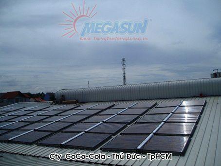 Hệ thống máy nước nóng năng lượng mặt trời tập trung MEGASUN tại Công ty nước giải khát COCA COLA – Thủ Đức, Việt Nam