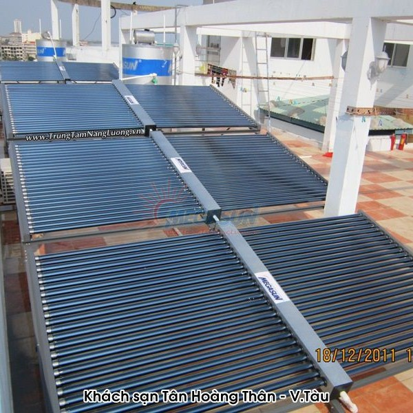 Hệ thống máy nước nóng năng lượng mặt trời công nghiệp MEGASUN tại Khách sạn Tân Hoàng Thân – Vũng Tàu